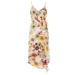 Topshop pink floral wrap dress